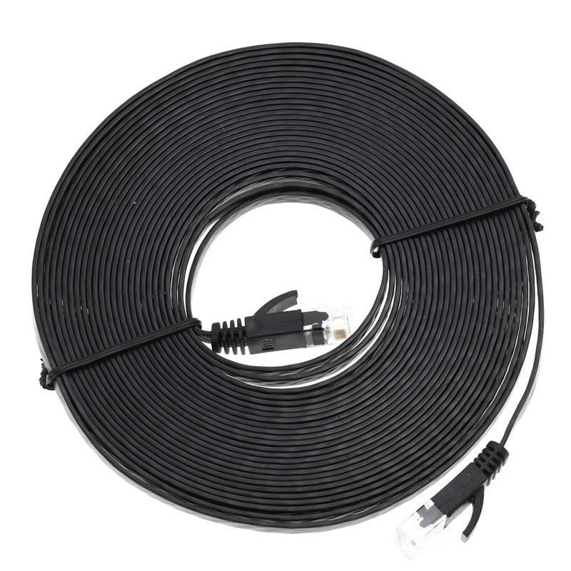 Alta calidad 1 m/3 m/5 m/10 m Aurum Cables plano CAT6 UTP Ethernet Internet Cable RJ45 conector LAN conector negro