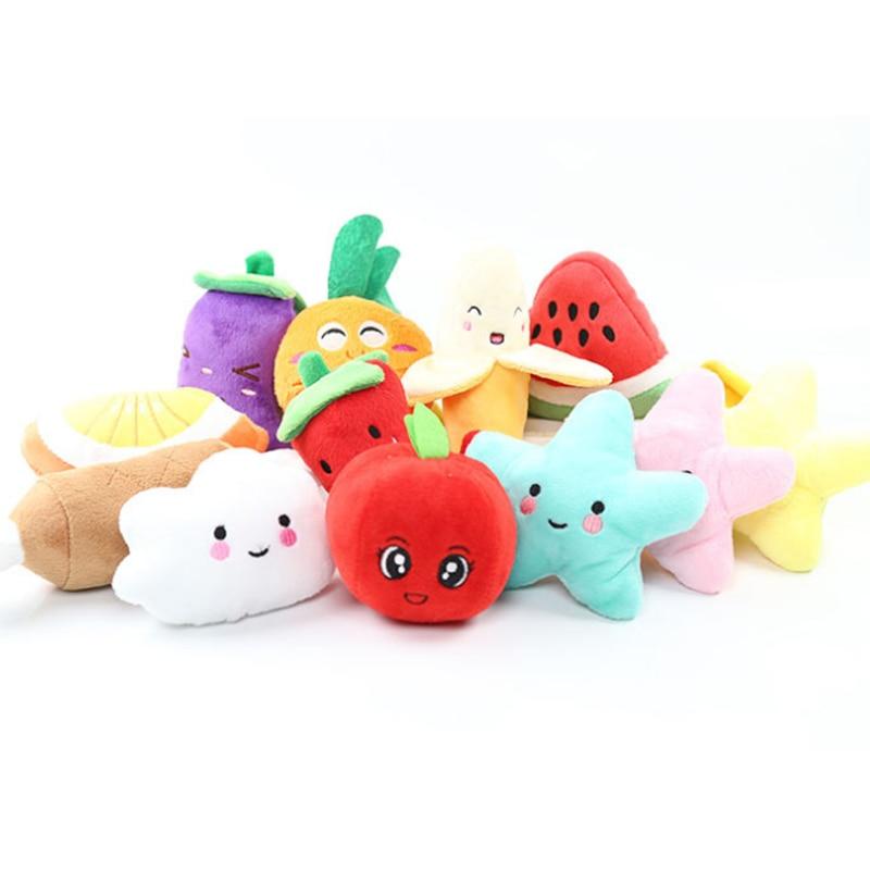 Мягкая игрушка-пищалка, скрипучий плюшевый звук, фрукты, овощи, арбуз, звезды, питание, морковь, банан