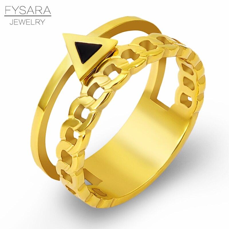 FYSARA geometría triángulo conjunto de anillos de boda de acero inoxidable Cadena de Color dorado anillos de enlace para los hombres y las mujeres par joyería de personalidad