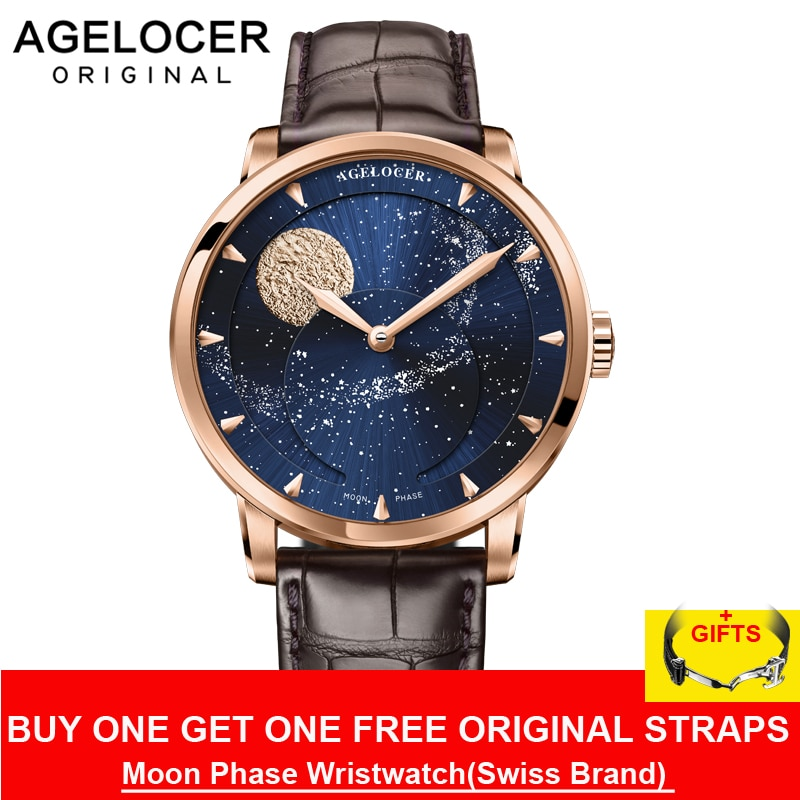 Agelocer العلامة التجارية الفاخرة الأعمال ووتش للرجال روز الذهب الأزرق القمر المرحلة التلقائية الميكانيكية الساعات relogio المذكر 6404D2