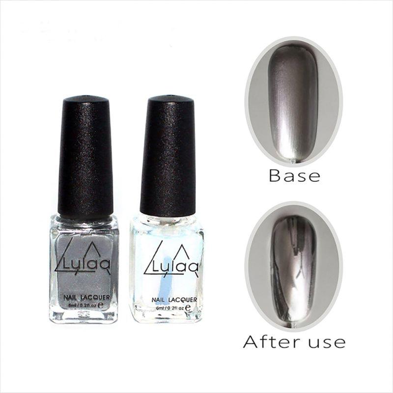 2 шт./компл. эффект серебряного зеркала лак для ногтей, металлический лак верхнее покрытие металлические ногти художественные наконечники