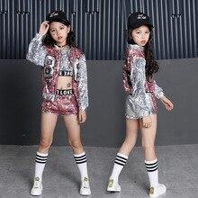 Crianças lantejoulas hip hop roupas para meninas jaqueta tanque de colheita camisa shorts dança jazz traje dança de salão streetwear