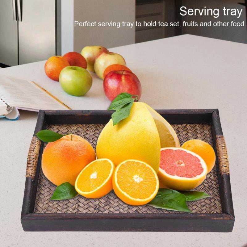 Bandejas de servicio de madera multifuncionales con mango rectangular hecho a mano de mimbre, bandejas de té/aceite, postre/café/frutas plato 3