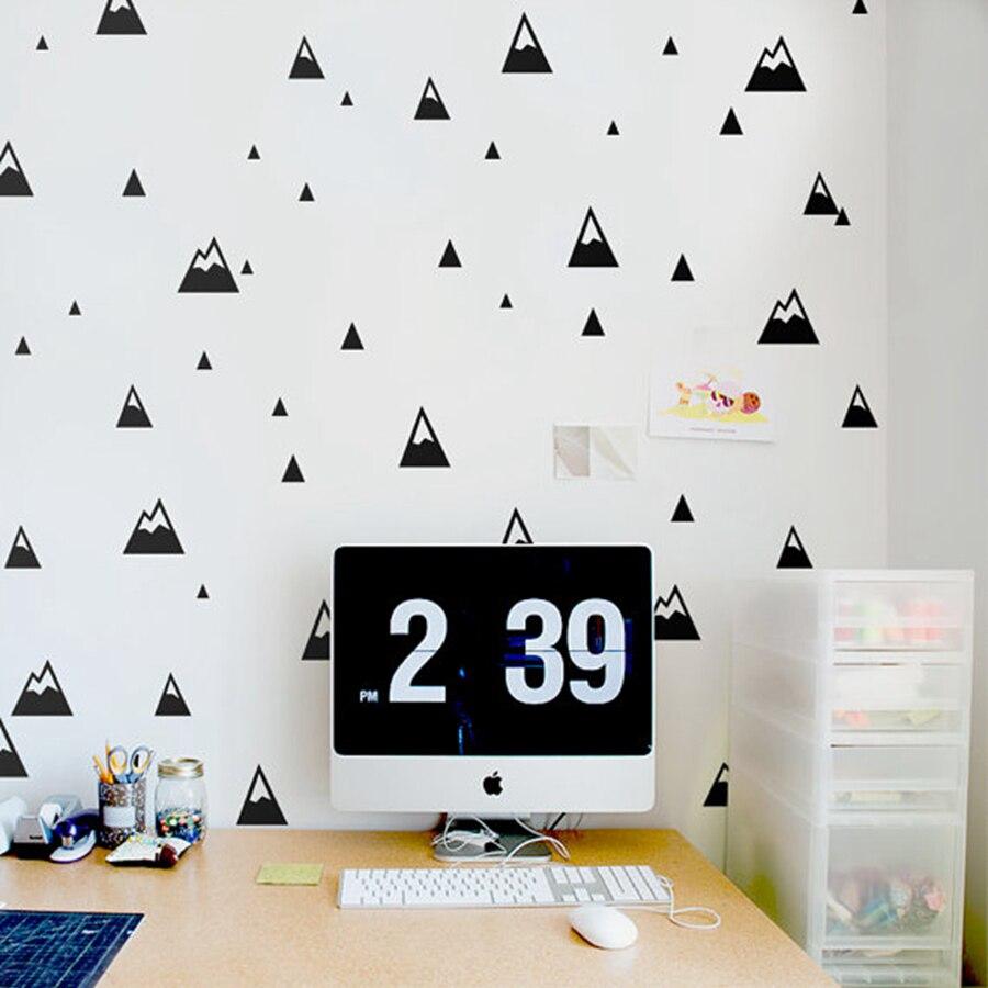 Adhesivo con diseño para pared de montañas, pegatina de pared moderna para habitación de bebé, naturaleza, montañas pequeñas, decoración de pared de habitación para niños