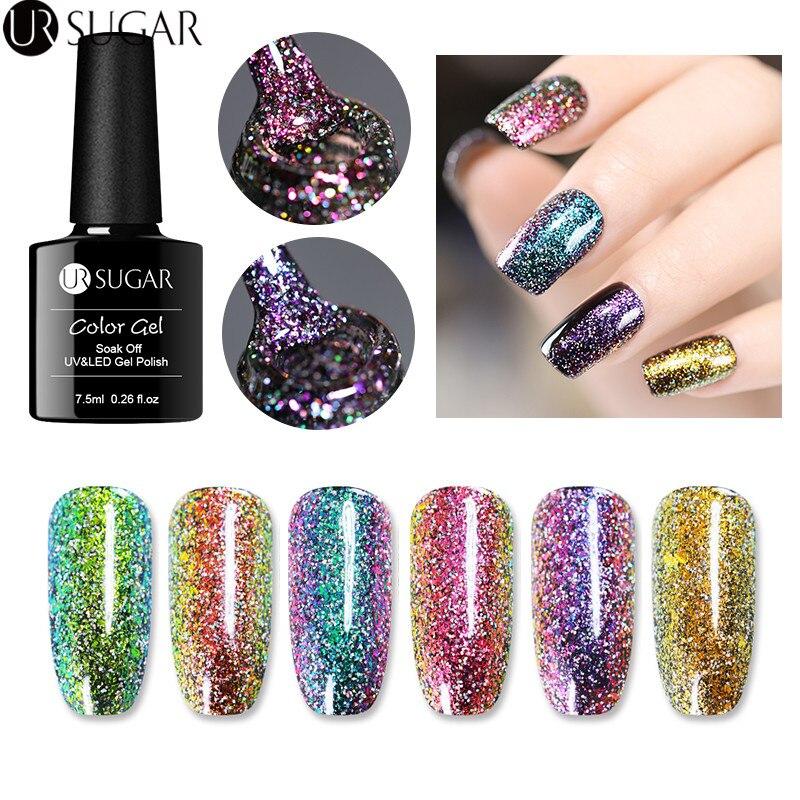 UR SUGAR Chameleon  Gel Polish 7.5ml sparkly  Glitter Sequins UV Gel Polish Soak Off Nail Art varnish Varnish