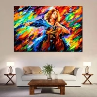 high quality 100 handpainted wall art pattle knife oil painting cellist colorful picture on canvas modern wall art home decor