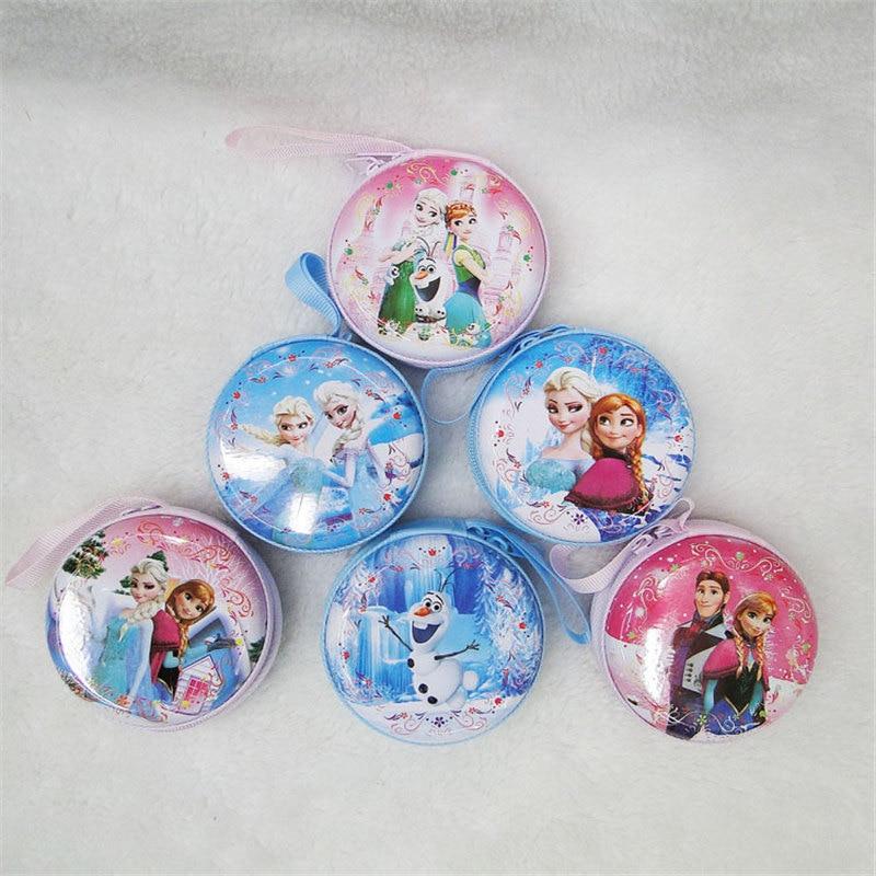 Disney Cute Tinplate Coin Purse Cartoon frozen elsa Anna Coin Girl Wallet Mini Headphones Storage Round Wallet