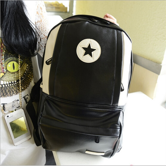 2014 new Korean women pu backpack schoolbags student casual printing laptop backpack women leather bag travel bag