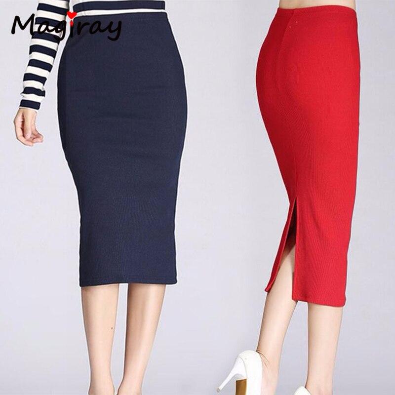 Magiray, Falda Midi de tubo acanalada de algodón de punto para mujer, ajustada, de cintura alta, roja, falda de fiesta Sexy coreana elegante C207