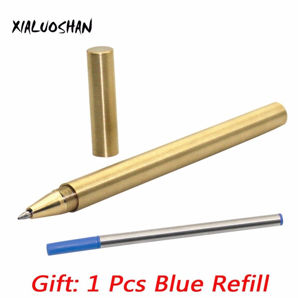 1 Uds. Bolígrafo de tinta de Gel negro de cobre hecho a mano 0,5mm pluma guay única Diseño novedoso plumas pesadas instrumentos de escritura regalos de papelería