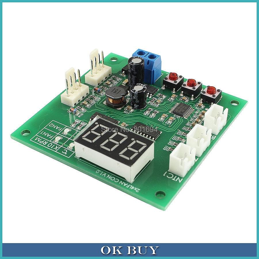 Fãs Termostato Governador 2-Way 4-Fio 3A 48 24 12 v v v PWM Controle de Velocidade Do Ventilador com Display de Temperatura Sonda 2