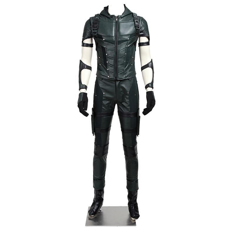 Seta verde temporada 4 traje oliver rainha cosplay calças jaqueta de couro super-herói halloween carnaval adulto roupa dos homens feitos sob encomenda
