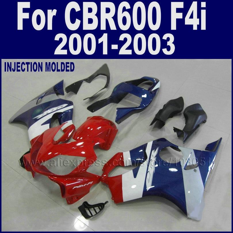 Custom motorcycle Road fairings kit for Honda CBR 600 F4i fairing set 2001 2002 2003 CBR 600 F4i 01 02 03 red blue bodywork part