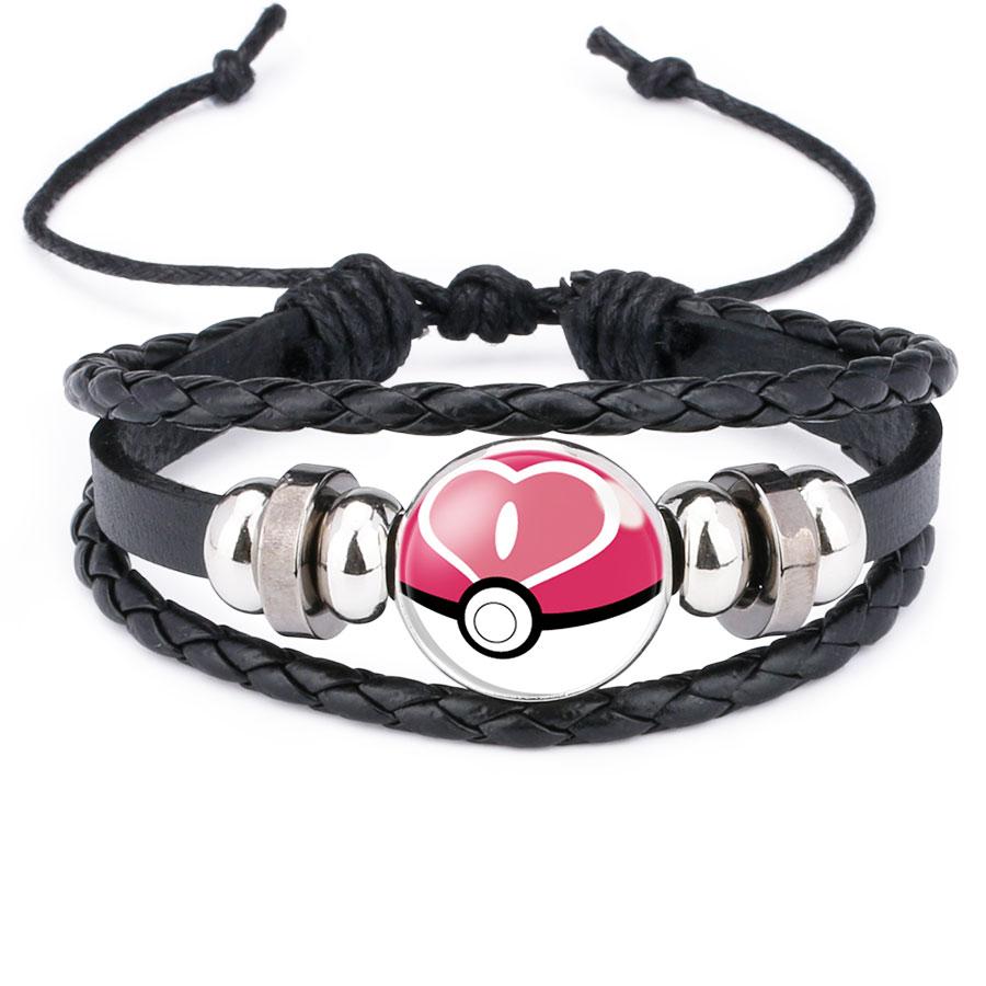 Venda quente Pulseira Monstro de Bolso Pokemon Pokeball Cabochon De Vidro Corda de Couro Wrap Pulseira para Jóias Presente Mulheres Homens