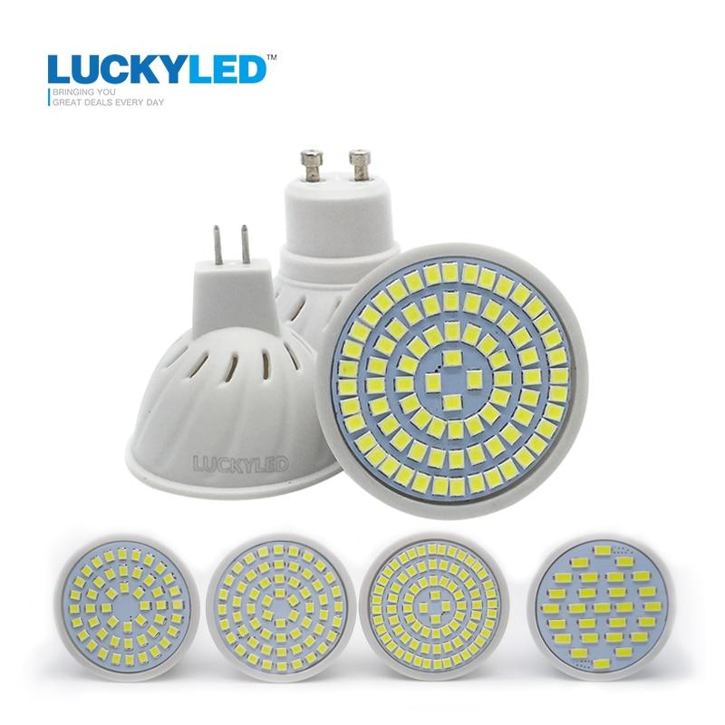 LUCKYLED marca Led foco MR16 GU10 3W 4W 5W 6W SMD 2835 5730 AC 220V bombilla Led para lámpara blanco cálido/frío Bombillas de ahorro de energía