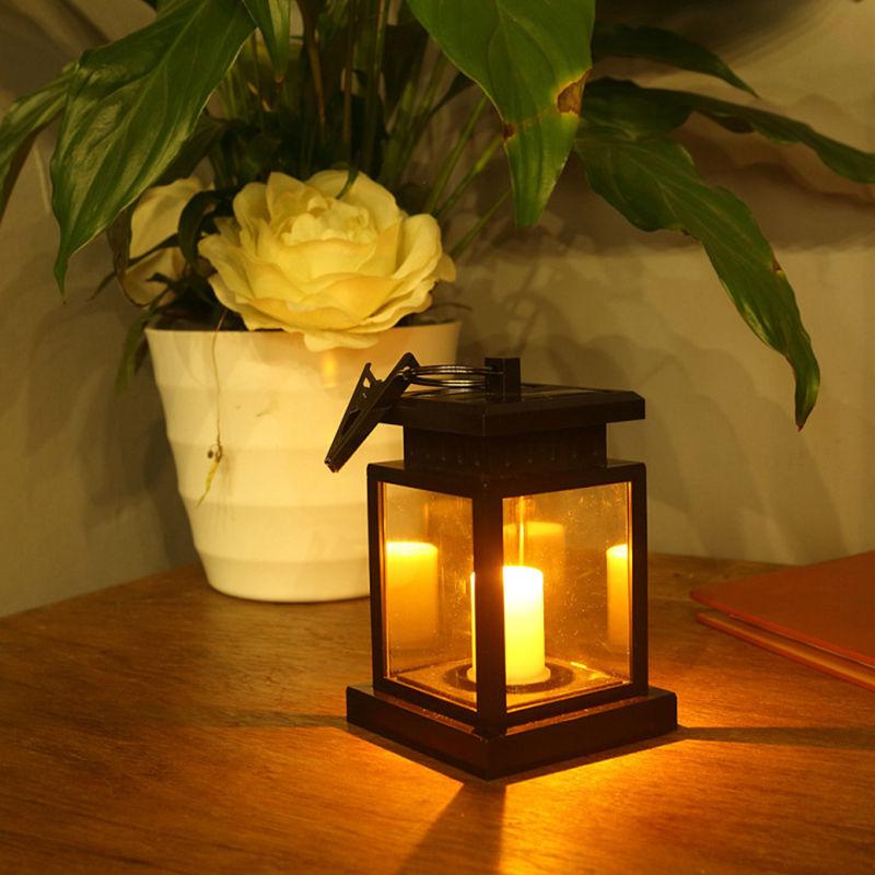 Lámpara Solar LED de mano, linterna de vela para jardín, Patio, césped, exterior, impermeable, Solar, vela, luz parpadeante, paraguas, Luz