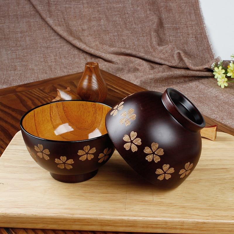 One piece Japanese Sakura Wooden Bowl Soup Salad Rice Noodle Bowls Natural Wood Kids Original Wood Bowl Tableware