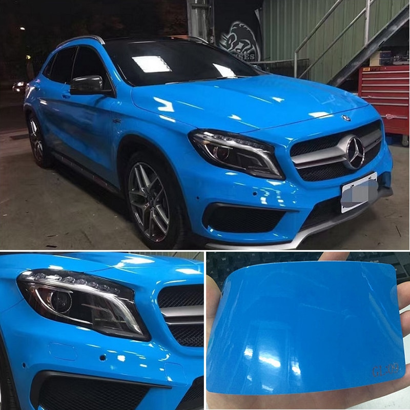 Ultra Glossy Blue Vinyl Wrap 3 Lagen Hoogglans Blauw Glanzende Auto Wrap Film Graphics met lucht Gratis Grootte 1.52*20 m/Roll