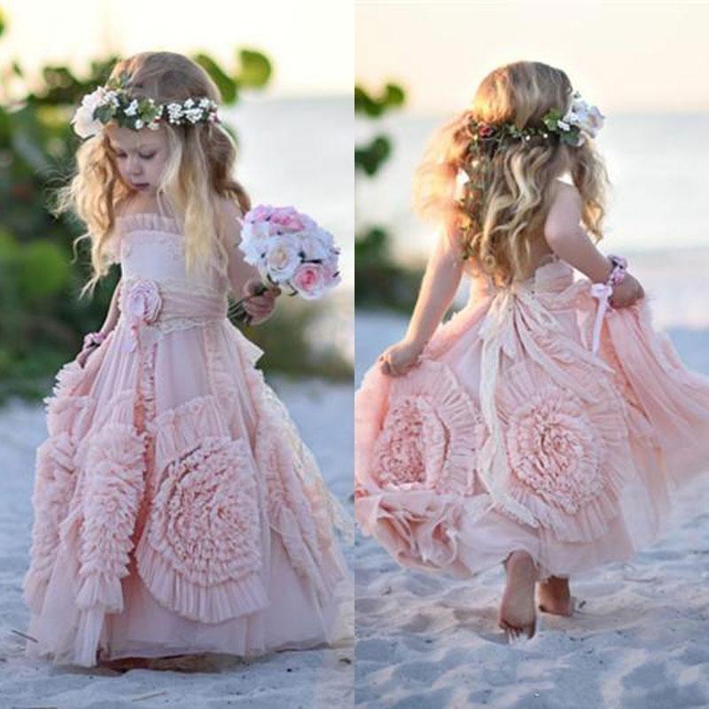 Vestidos rosas de flores para niña, volantes finos hechos a mano con encaje de flores, tutú Vintage, vestidos para bebé para comunión Bohemia boda