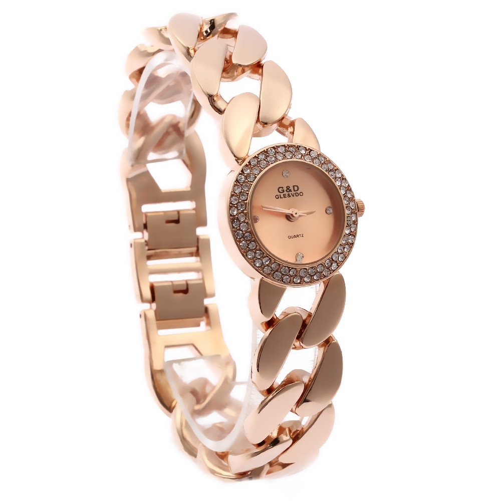 2016 New Fashion Women's Wrist Watch Analog Quartz Watches Stainless Steel Bracelet  Rose Gold enlarge