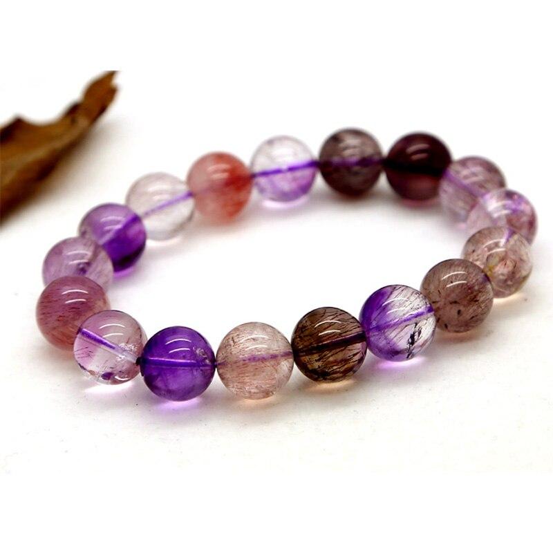 Venta al por mayor Natural genuino Multi colores mezcla Super siete estiramiento pulsera redonda Melody Stone Beads 12mm tres troncos