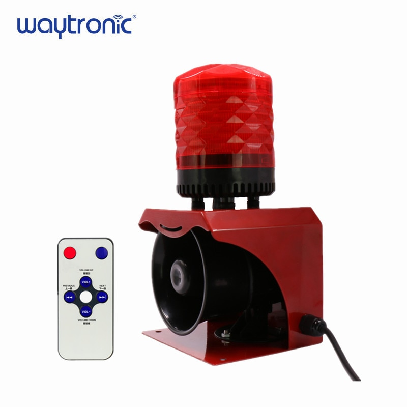 12V 24V 220V Industrial Horn Siren Emergency Sound and Light Alarm Red LED Flashing Strobe Warning Light with Remote Control 1set tone sound car emergency siren horn emergency amplifier hooter 12v 100w