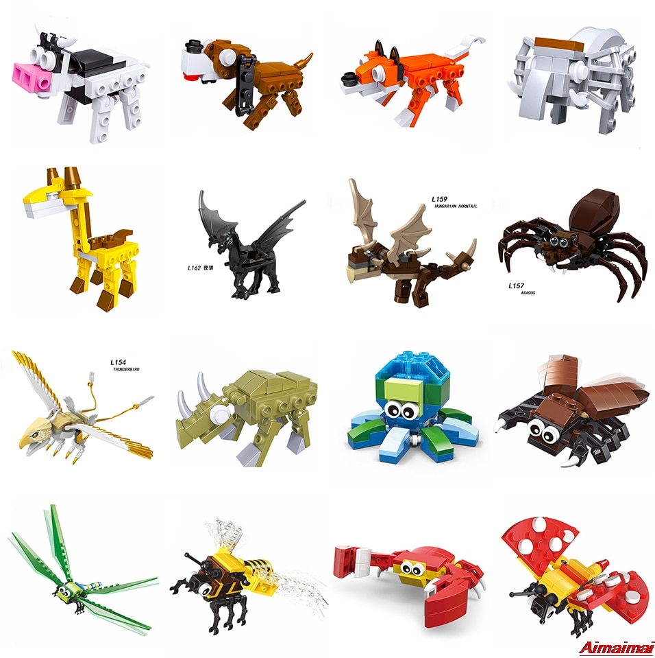 Animales de bloqueo Duplo, juego de granja, dinosaurios, Araña, Tigre, jirafa, jurásico, mundo, insectos, bestia, pájaros, camello, Lobo, modelo de juguete, ladrillos, zoológico