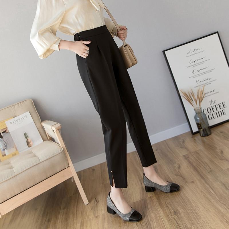 Удобные повседневные женские шаровары 2020 корейские элегантные брюки с разрезом черного размера плюс брюки для офиса