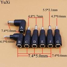 DC 7,4x5,0mm 7,4*0,6 hembra a 7,4 5,0mm 4,5*0,6 4,8*1,7mm 5,5*2,1/5,5 2,1mm conector macho para adaptador de corriente para portátil HP/DELL