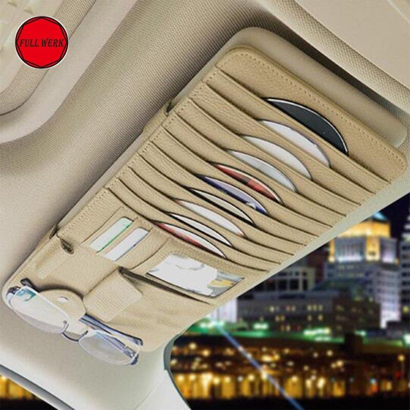 Organizador de visera de coche, gafas, portatarjetas de CD, bolsa de almacenamiento, bolsillo para Tesla Model S X 3, accesorios de almacenamiento