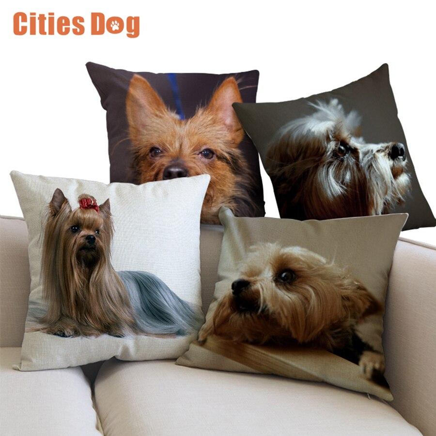 Linho Fronha de Almofada Animal cão Terrier Australiano casamento decoração do carro suprimentos carro sofá Travesseiro Almofadas