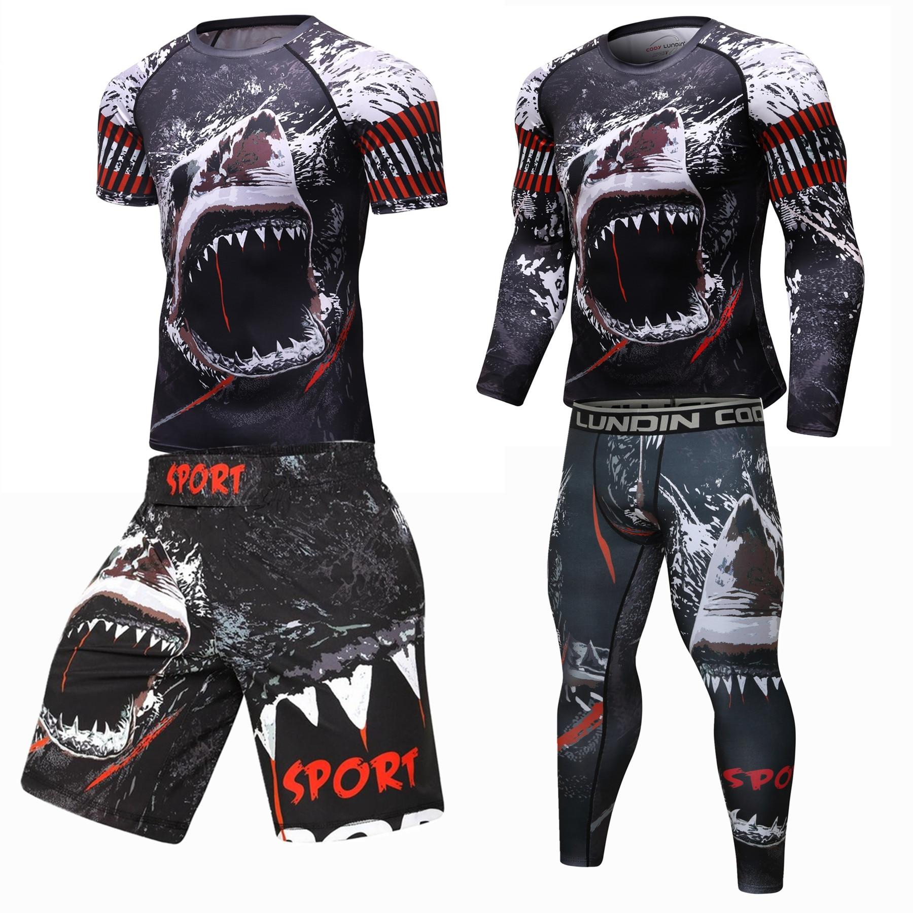 2019 nuevo conjunto de compresión para hombres, mallas para correr, entrenamiento, Fitness, entrenamiento, chándal, camisas de manga larga, traje deportivo, kit rashgard