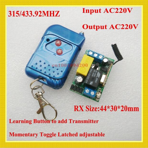 جهاز استقبال صغير 220 فولت ، 1 قناة ، 10 أمبير ، جهاز إرسال RF ، مفتاح تحكم عن بعد لاسلكي ، مفتاح مؤقت ، إدخال قابل للتعديل ، خرج AC220V 315/433