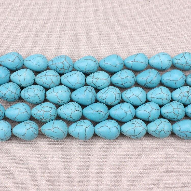 16 шт./лот, 12*15 мм, в форме капли воды, с голубым камнем, режущие бусины из натурального камня для изготовления ожерелий, браслетов, ювелирных и...