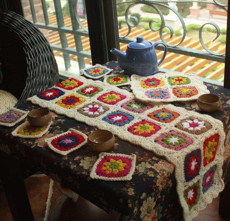Camino de mesa Gouhua manual de alta calidad, papel tapiz de lana Pastoral, estera para tetera, posavasos, juego de 8 Uds