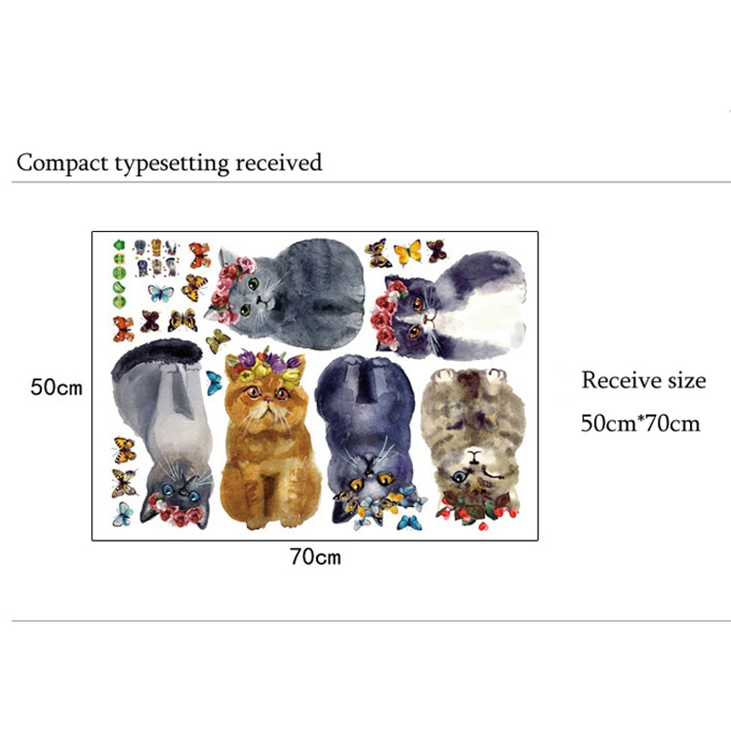 Купить с кэшбэком Lovely Hand-painted cat Wall Sticker for Home Decor kids room Simulation animal Decoration poster Mural art Decals stickers