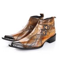 Итальянские ботинки в стиле милитари; Ковбойские ботинки с острым носком на высоком каблуке в западном стиле; Коричневые ковбойские ботинк...
