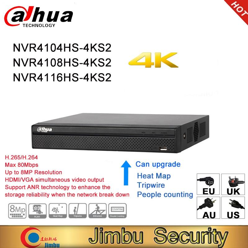 Dahua-Grabadora de vídeo de red NVR P2P 4K, NVR4104HS-4KS2 NVR4108HS-4KS2, 4 canales, 8 canales, 16 canales, 1U, 4K y H.265/H.264