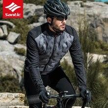 Santic hiver garder au chaud cyclisme maillot à manches longues vestes coupe-vent chaud lumière vélo vêtements hommes chicago blackhawks Jersey