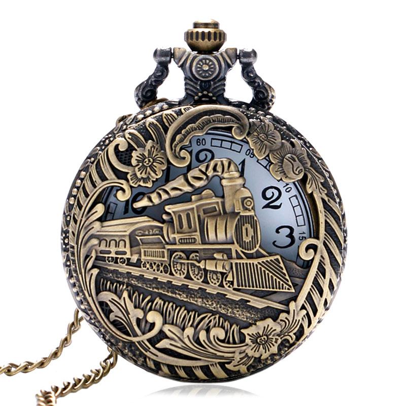 Vintage bronce hueco Locomotora con flor diseño de caso de cuarzo reloj de bolsillo con cadena con colgante de collar de cadena para las mujeres de los hombres