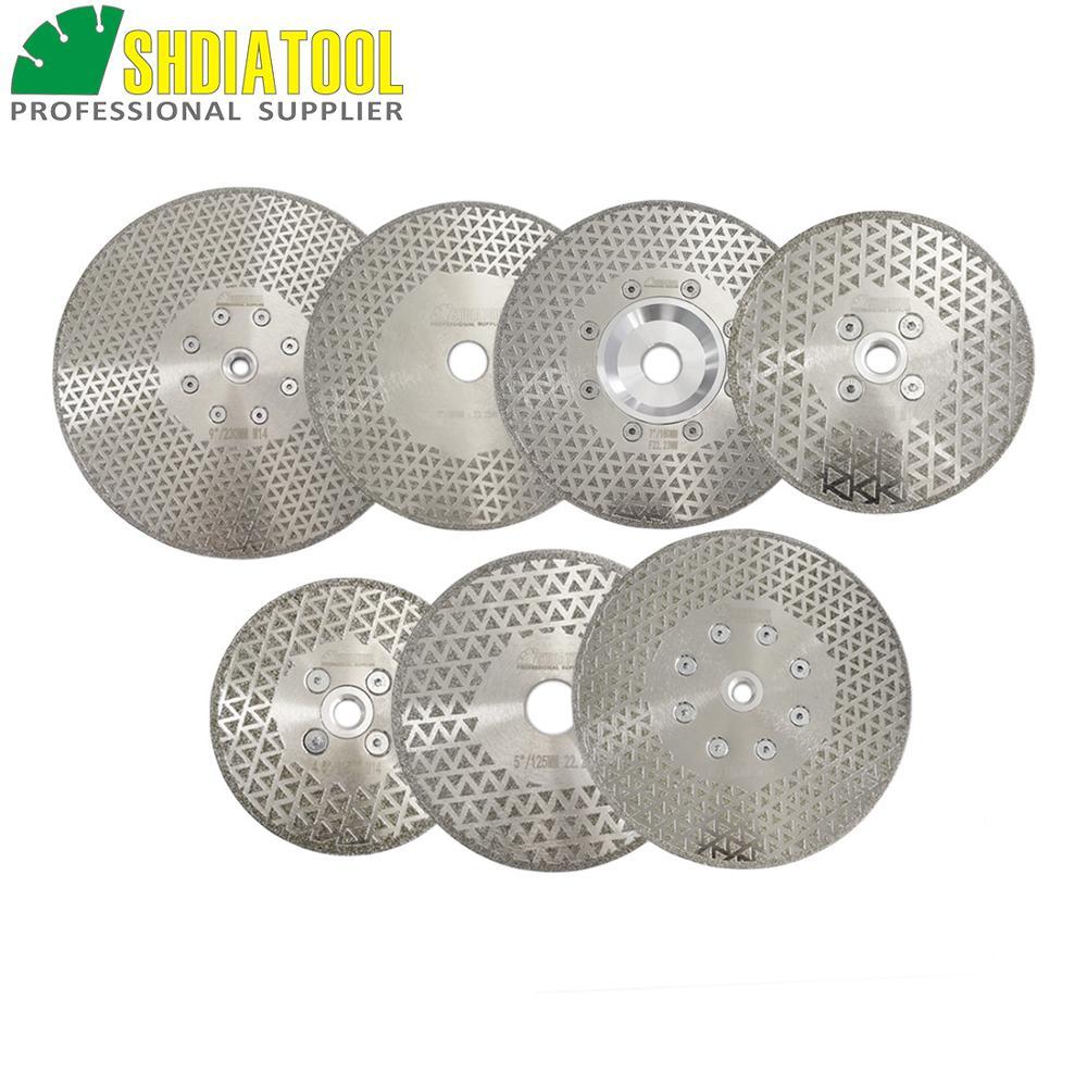 SHDIATOOL 1 pc galvanizado de diamante de corte y rectificado de ambos lados de disco de diamante de corte de mármol disco granito hoja de sierra