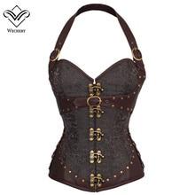 Corset Steampunk brun vêtement gothique Corsets Sexy boucle en cuir synthétique polyuréthane et Bustiers minceur gaine ventre
