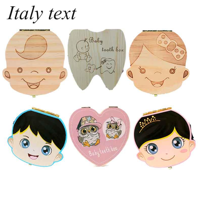 Itália inglês caixa de dente de madeira do bebê organizador de armazenamento de dentes de leite recolher dentes umbilical para meninos meninas salvar lembrança