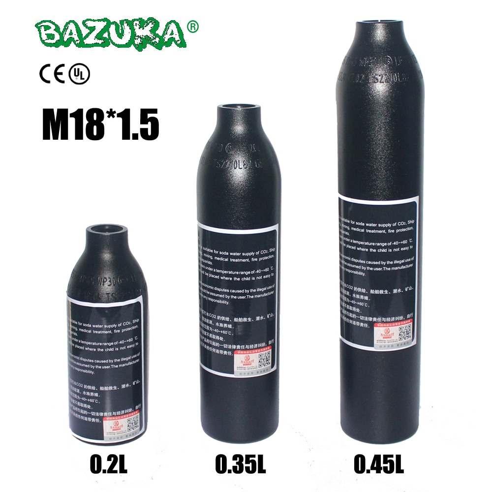 PCP Paintball Airforce Airsoft cilindro HPA M18x1.5 0.2L/0.35L/0.45L botella de aire 6061 tanque de aleación de aluminio 30MPa/300bar/4500psi
