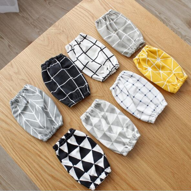 1 par de fundas de algodón simple de lino de calidad de cocina de manga larga para niños y brazo adulto para cocinar y hornear