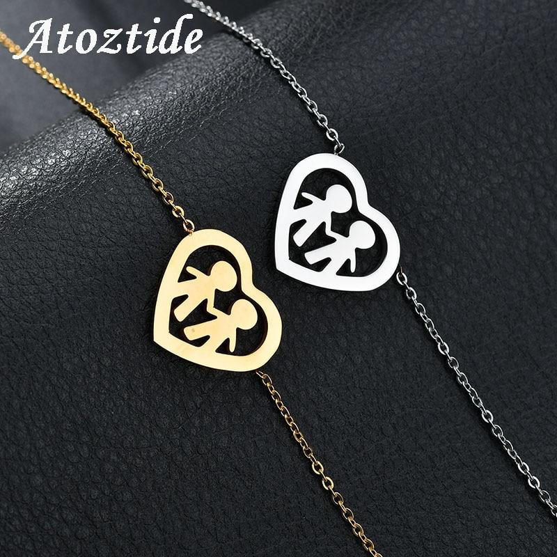 Atoztide Cute Stainless Steel Boys Girls Mom Dad Family Bracelets Adjustable Gold Color House Kids Children Bangle