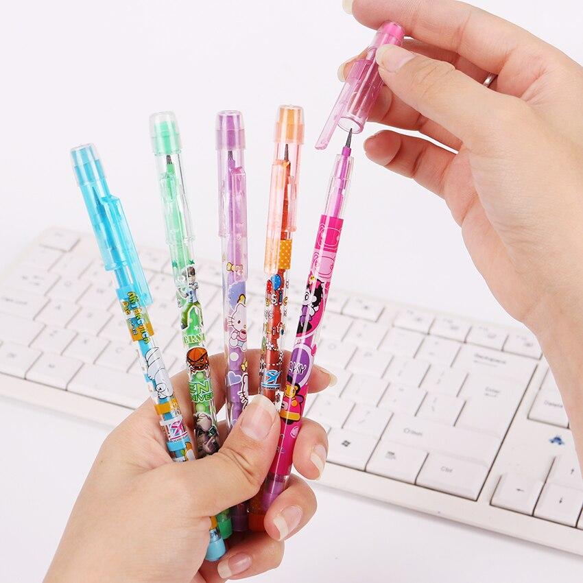 Lápiz estándar de plástico de 4 Uds con goma de borrar, pluma de aprendizaje de escritura de estudiante de Animal de chica de dibujos animados encantadora para regalo de papelería de niños