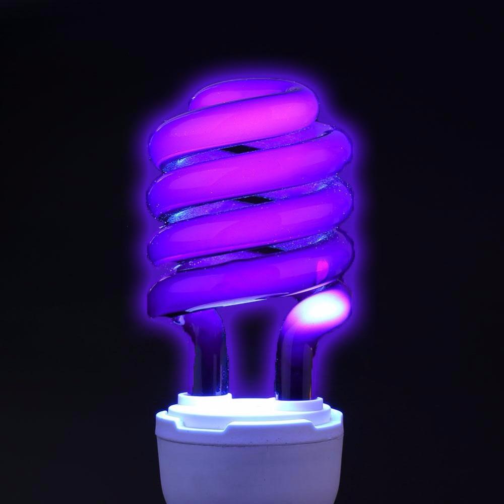 Bombilla de luz UV E27 220 V, lámpara ultravioleta fluorescente, negra, espiral, violeta, ahorro de energía, lámparas germicidas mata insectos