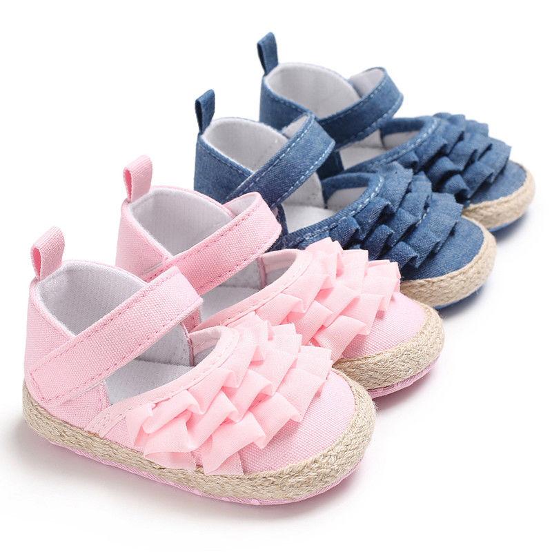0-18 Months Newborn Infant Toddler Baby Girl Soft Sole Crib Shoes First Walkers Ruffles Princess Gir