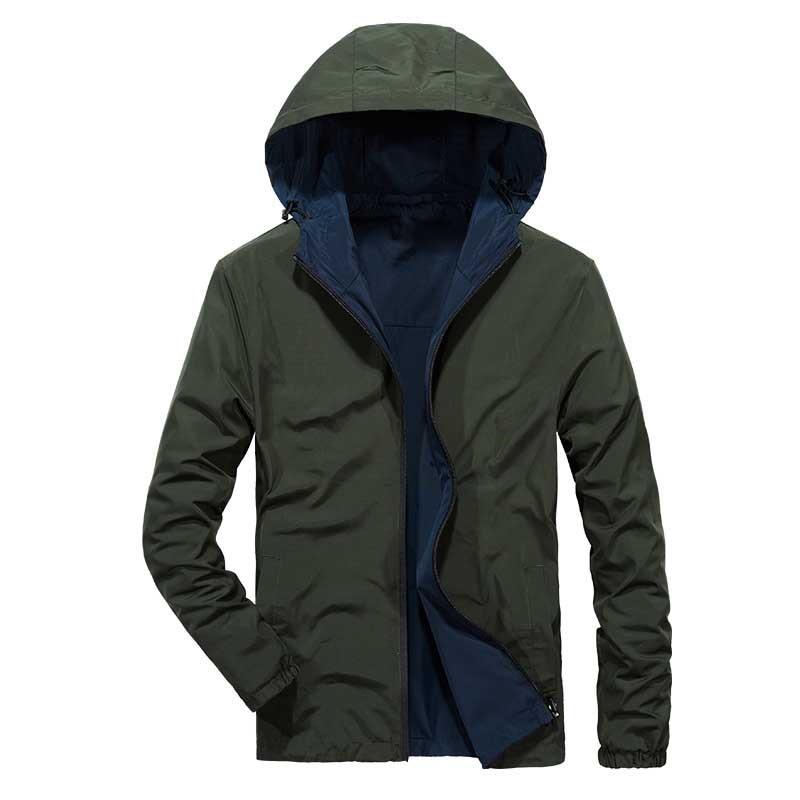 Double Side Jacket Spring Autumn Men Casual Hooded Jacket Windbreaker OUTWEAR Coat Male Clothes